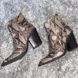 JustFab Snakeskin High Ankle Booties
